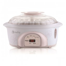 Electric Stewing & Steaming Cooker, 2 x 0.6-Litre + 1 x 1.6-Litre